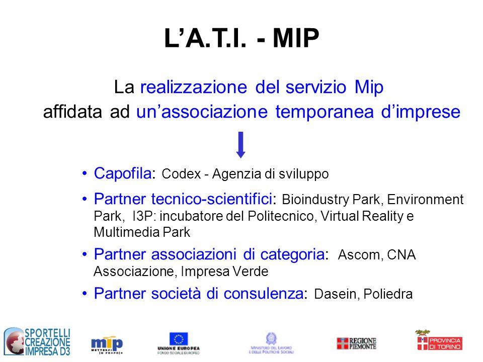 La realizzazione del servizio Mip affidata ad unassociazione temporanea dimprese Capofila: Codex - Agenzia di sviluppo Partner tecnico-scientifici: Bi