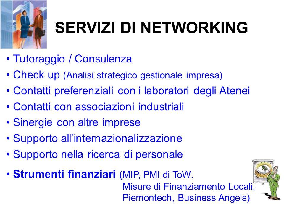 SERVIZI DI NETWORKING Tutoraggio / Consulenza Check up (Analisi strategico gestionale impresa) Contatti preferenziali con i laboratori degli Atenei Co