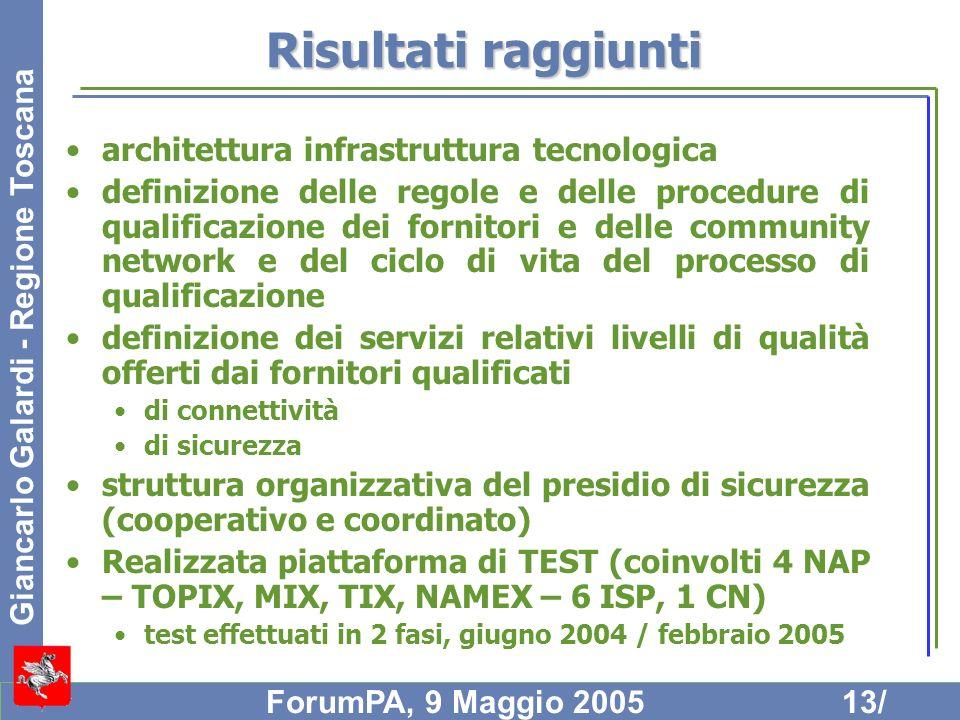 Giancarlo Galardi - Regione Toscana ForumPA, 9 Maggio 200513/ Risultati raggiunti architettura infrastruttura tecnologica definizione delle regole e d