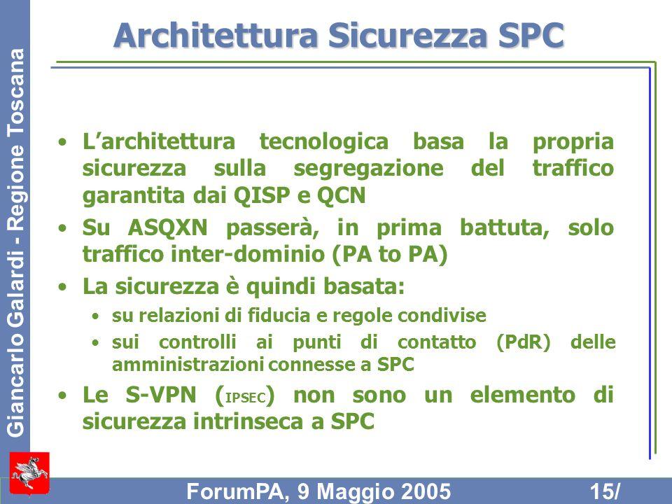Giancarlo Galardi - Regione Toscana ForumPA, 9 Maggio 200515/ Architettura Sicurezza SPC Larchitettura tecnologica basa la propria sicurezza sulla seg