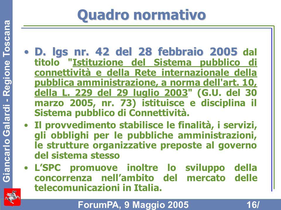 Giancarlo Galardi - Regione Toscana ForumPA, 9 Maggio 200516/ Quadro normativo D. lgs nr. 42 del 28 febbraio 2005D. lgs nr. 42 del 28 febbraio 2005 da