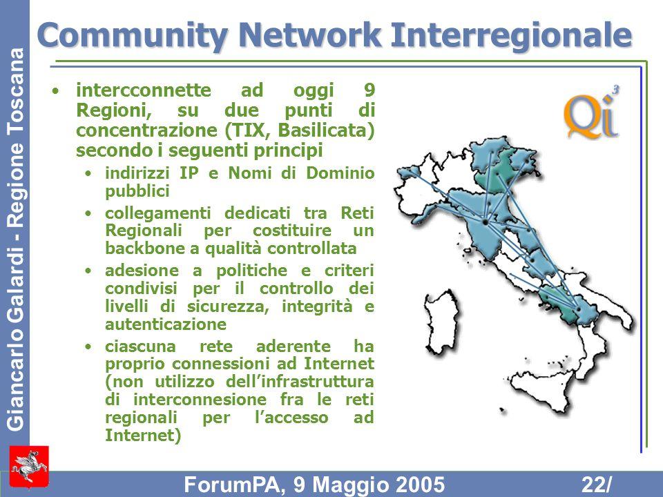 Giancarlo Galardi - Regione Toscana ForumPA, 9 Maggio 200522/ Community Network Interregionale intercconnette ad oggi 9 Regioni, su due punti di conce