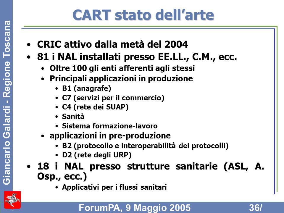 Giancarlo Galardi - Regione Toscana ForumPA, 9 Maggio 200536/ CART stato dellarte CRIC attivo dalla metà del 2004 81 i NAL installati presso EE.LL., C