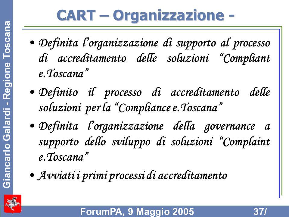 Giancarlo Galardi - Regione Toscana ForumPA, 9 Maggio 200537/ CART – Organizzazione - Definita lorganizzazione di supporto al processo di accreditamen