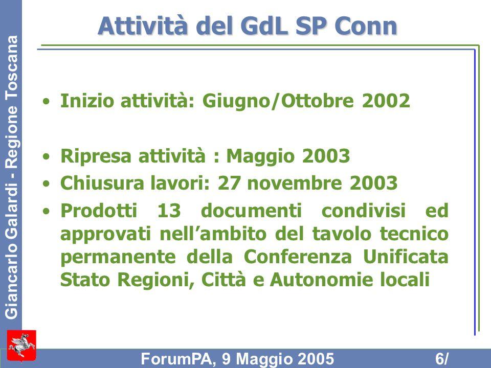 Giancarlo Galardi - Regione Toscana ForumPA, 9 Maggio 20056/ Attività del GdL SP Conn Inizio attività: Giugno/Ottobre 2002 Ripresa attività : Maggio 2