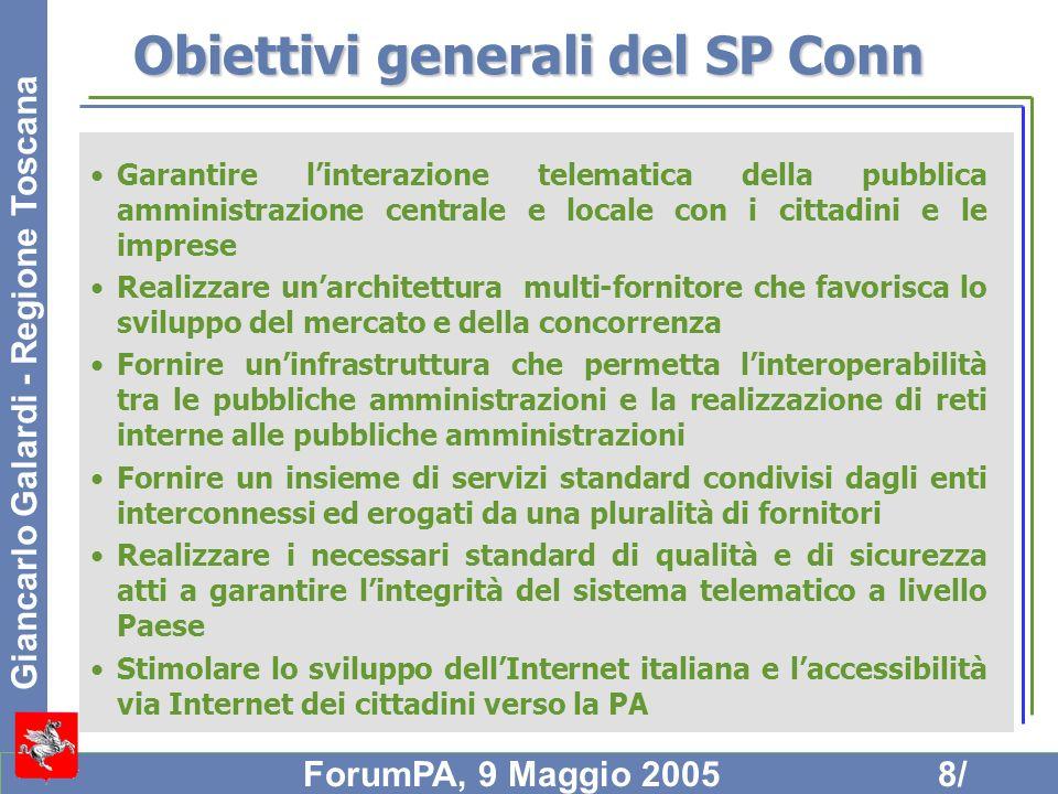 Giancarlo Galardi - Regione Toscana ForumPA, 9 Maggio 20059/ Modello SP Conn La necessità di realizzare un Sistema nel quale la comunicazione tra le diverse PA avvenga con caratteristiche di qualità e sicurezza garantite end to end, in un contesto multi-fornitore, implica: –la realizzazione di una infrastruttura di interconnessione e di controllo –la definizione di opportune regole che dovranno essere rispettate da tutti gli attori coinvolti Linfrastruttura di interconnessione è denominata QXN Il controllo operativo dellSPC è delegato al Centro di Gestione, connesso con il NOC del QXN e responsabile delle misure e delle procedure per garantire la qualità e la sicurezza delle comunicazioni La regia del sistema SPC, in termini di politiche e direttive, è delegata alla Struttura di Coordinamento Le regole sono quelle della qualificazione dei servizi e dei fornitori di servizi, la cui applicazione è delegata alla Struttura di Coordinamento e in termini operativi alla Terza Parte di Monitoraggio (TPM)