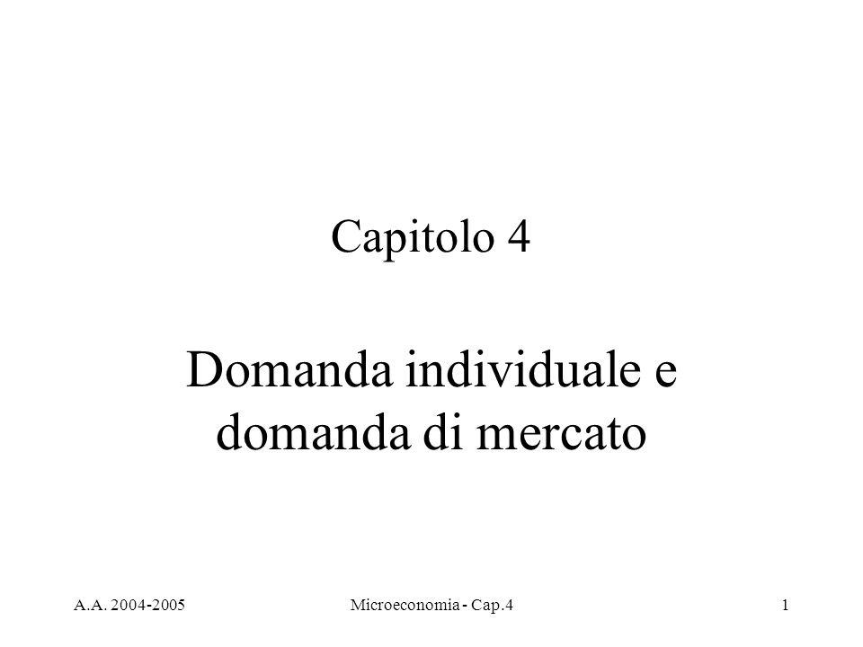 A.A. 2004-2005Microeconomia - Cap.41 Capitolo 4 Domanda individuale e domanda di mercato