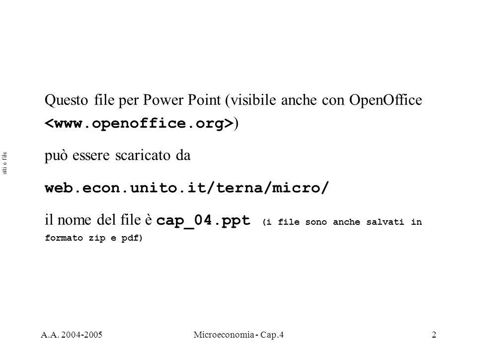 A.A. 2004-2005Microeconomia - Cap.42 Questo file per Power Point (visibile anche con OpenOffice ) può essere scaricato da web.econ.unito.it/terna/micr