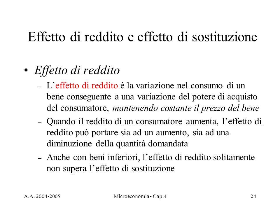 A.A. 2004-2005Microeconomia - Cap.424 Effetto di reddito e effetto di sostituzione Effetto di reddito – Leffetto di reddito è la variazione nel consum