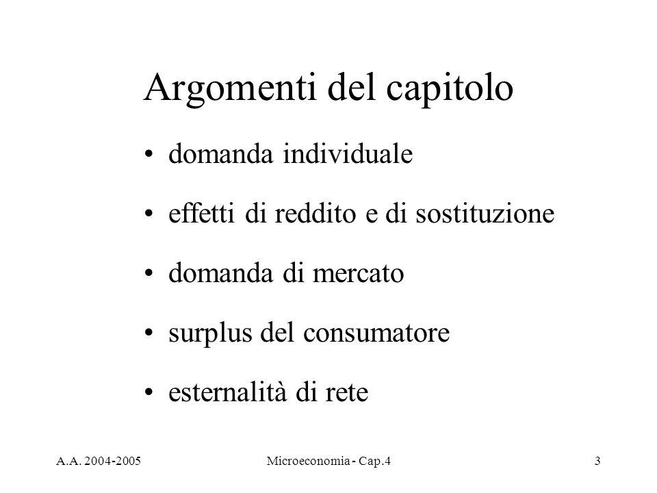 A.A. 2004-2005Microeconomia - Cap.43 Argomenti del capitolo domanda individuale effetti di reddito e di sostituzione domanda di mercato surplus del co