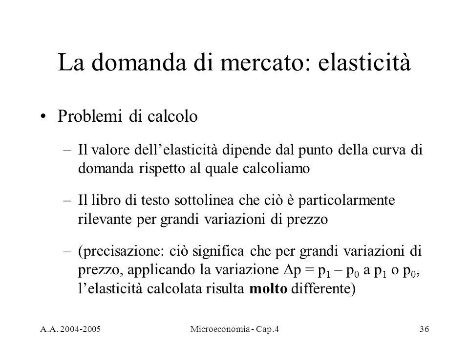 A.A. 2004-2005Microeconomia - Cap.436 La domanda di mercato: elasticità Problemi di calcolo –Il valore dellelasticità dipende dal punto della curva di