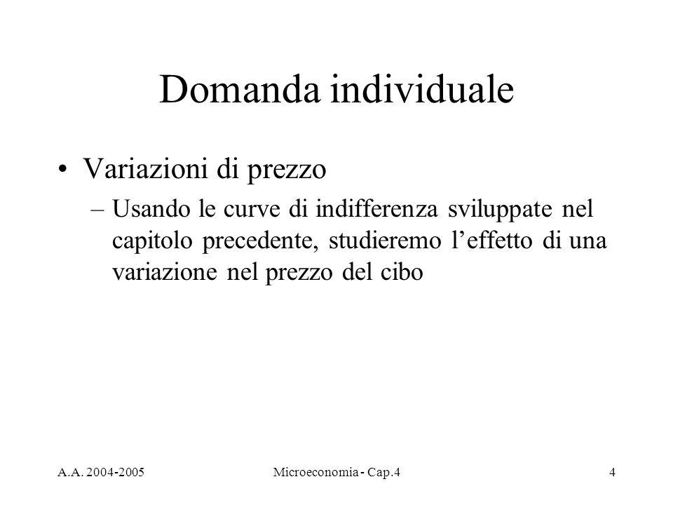 A.A. 2004-2005Microeconomia - Cap.44 Domanda individuale Variazioni di prezzo –Usando le curve di indifferenza sviluppate nel capitolo precedente, stu