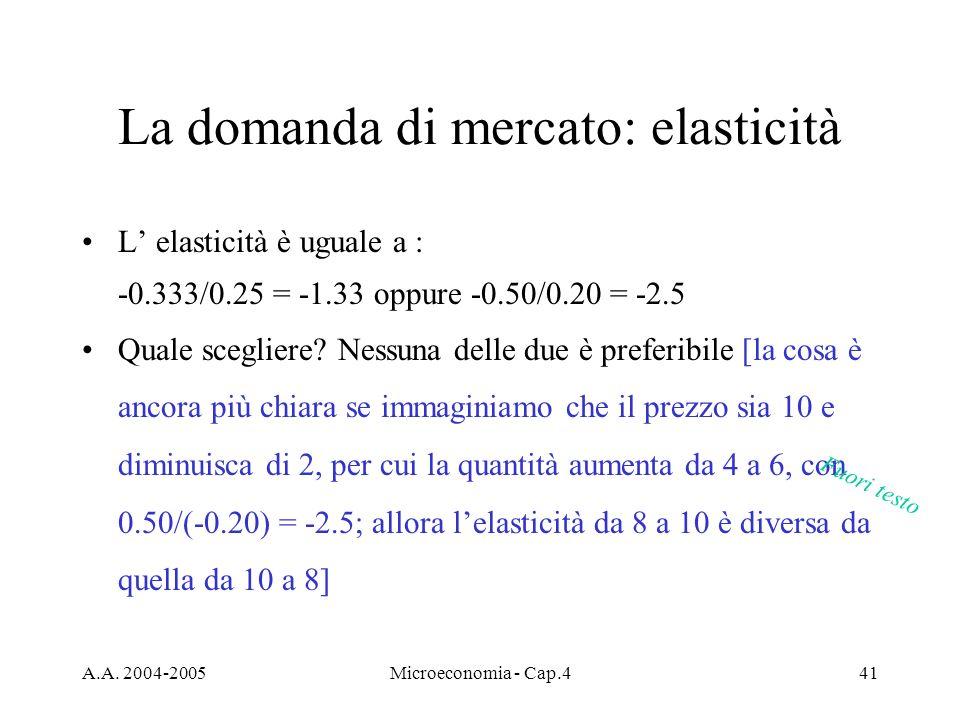 A.A. 2004-2005Microeconomia - Cap.441 La domanda di mercato: elasticità L elasticità è uguale a : -0.333/0.25 = -1.33 oppure -0.50/0.20 = -2.5 Quale s