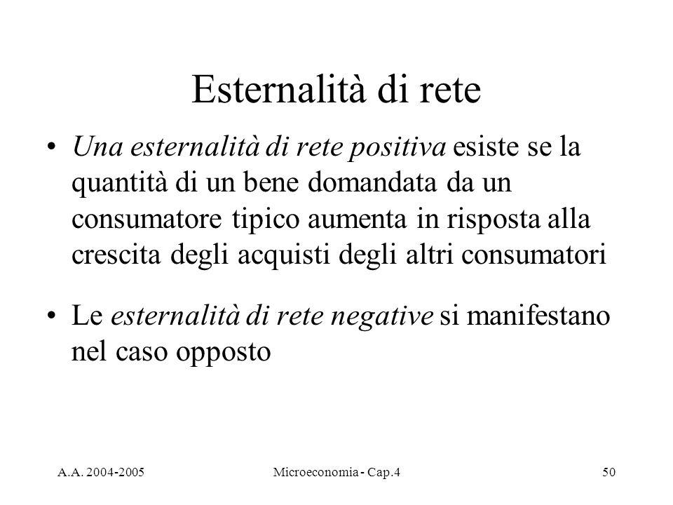 A.A. 2004-2005Microeconomia - Cap.450 Esternalità di rete Una esternalità di rete positiva esiste se la quantità di un bene domandata da un consumator