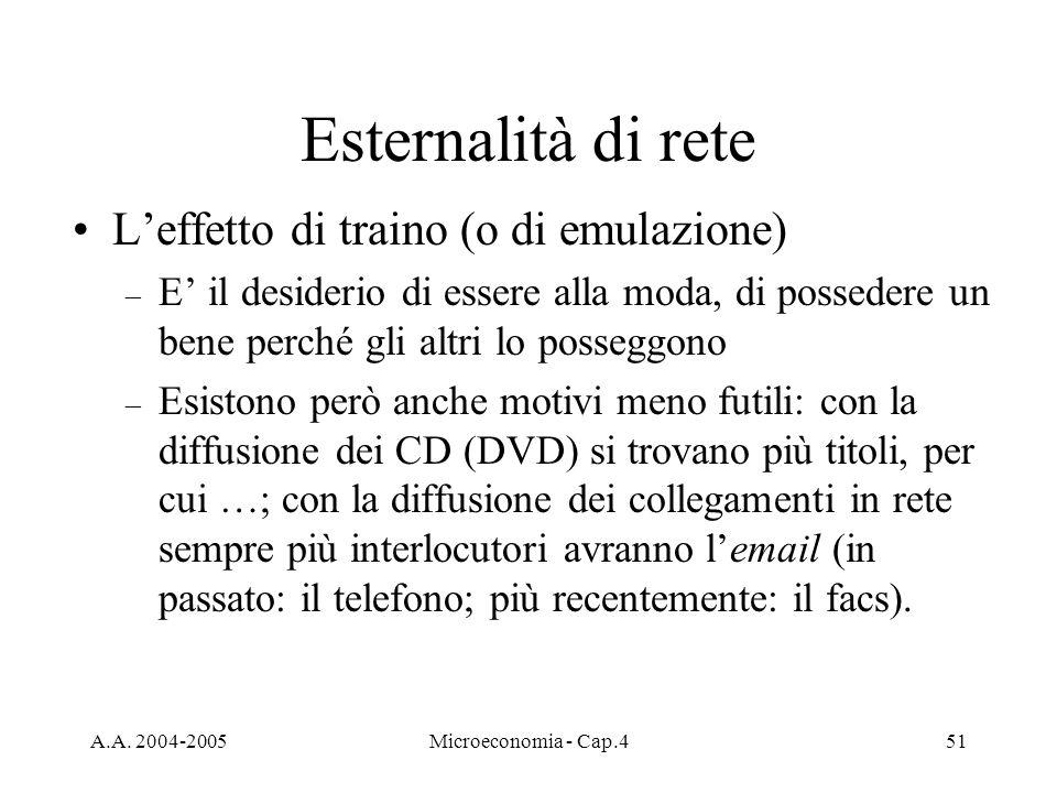 A.A. 2004-2005Microeconomia - Cap.451 Esternalità di rete Leffetto di traino (o di emulazione) – E il desiderio di essere alla moda, di possedere un b