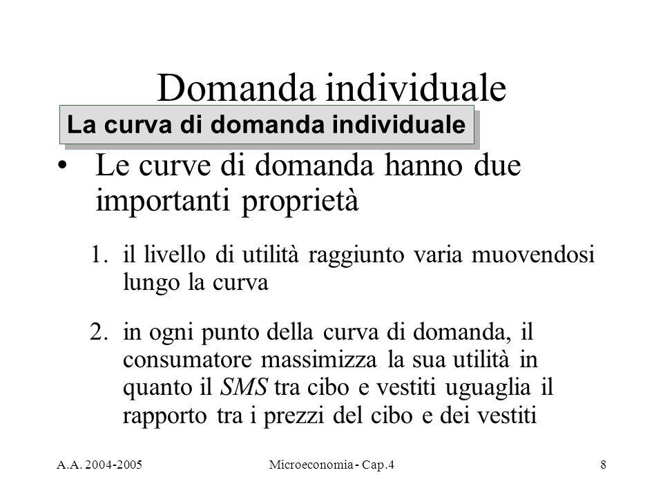 A.A. 2004-2005Microeconomia - Cap.48 Domanda individuale Le curve di domanda hanno due importanti proprietà 1.il livello di utilità raggiunto varia mu