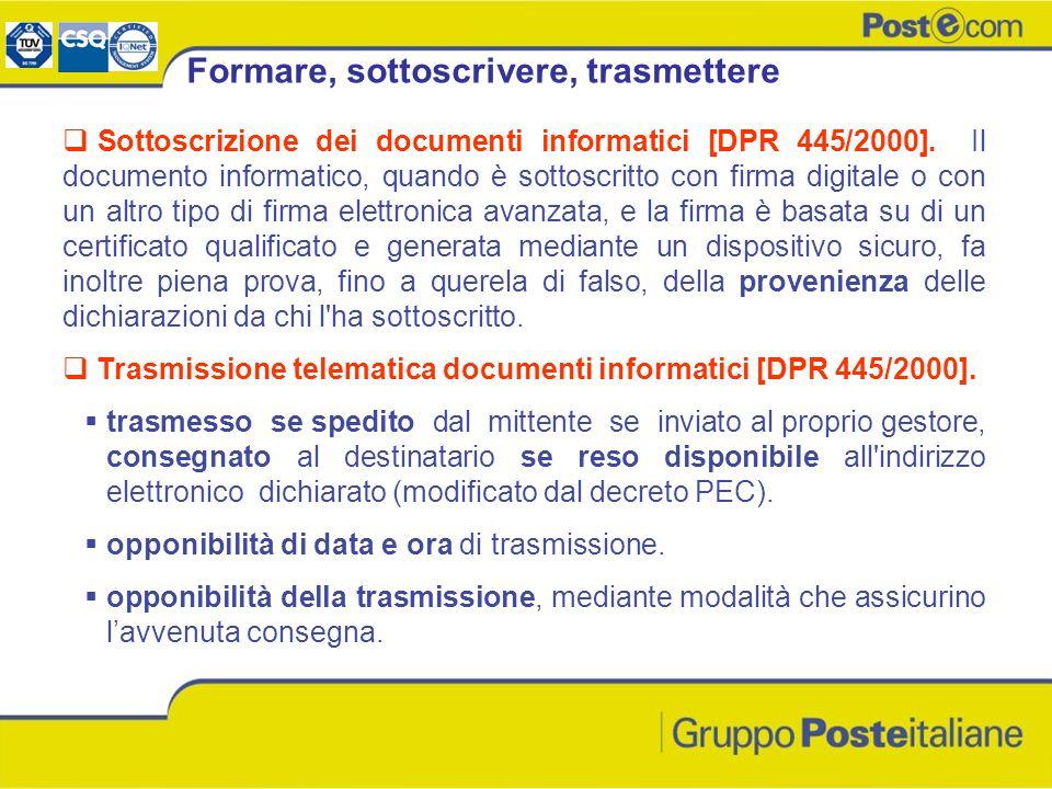 Formare, sottoscrivere, trasmettere Sottoscrizione dei documenti informatici [DPR 445/2000]. Il documento informatico, quando è sottoscritto con firma