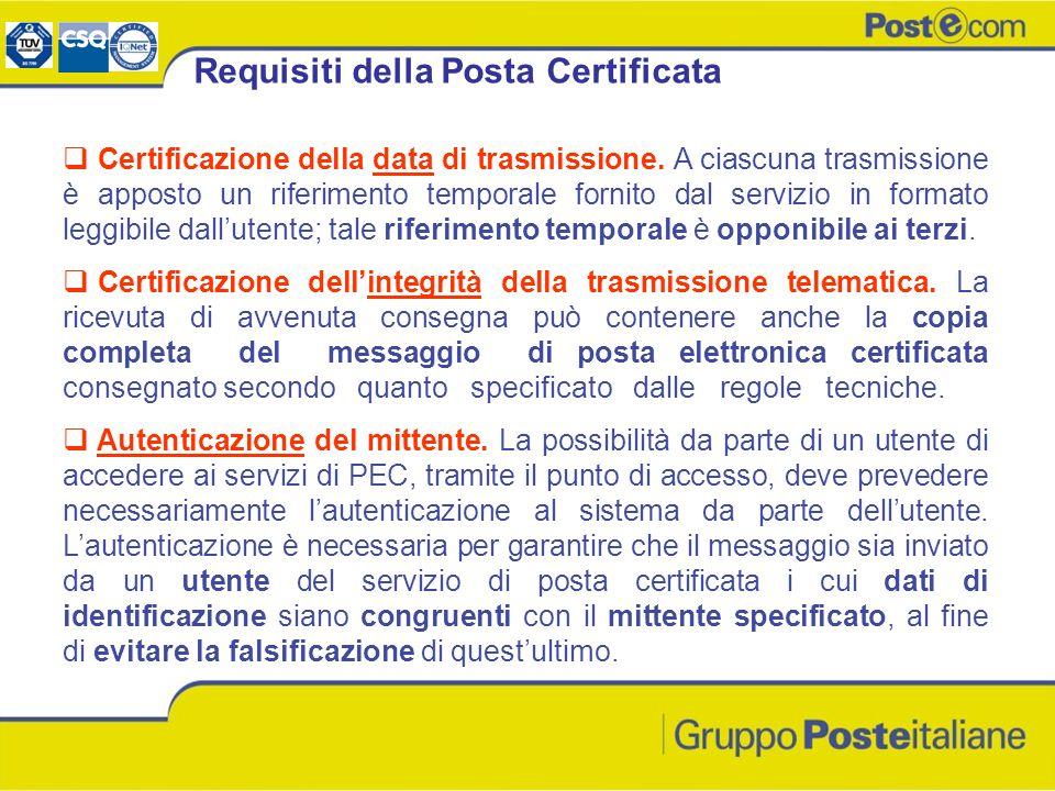 Certificazione della data di trasmissione. A ciascuna trasmissione è apposto un riferimento temporale fornito dal servizio in formato leggibile dallut