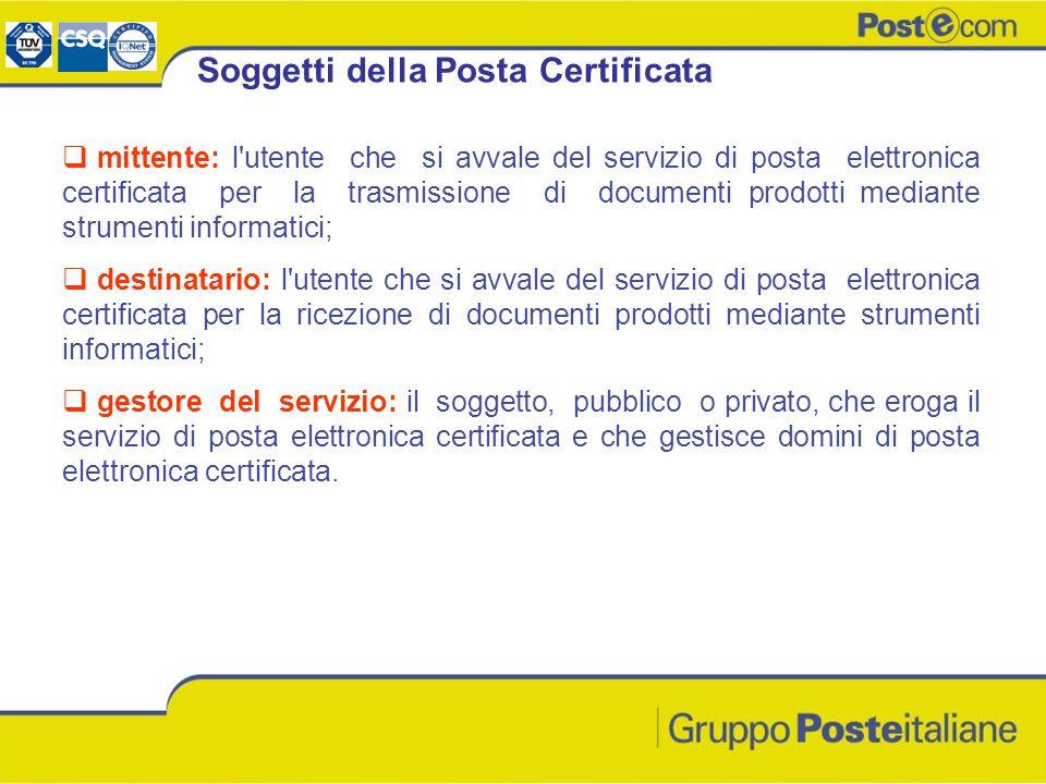 mittente: l'utente che si avvale del servizio di posta elettronica certificata per la trasmissione di documenti prodotti mediante strumenti informatic