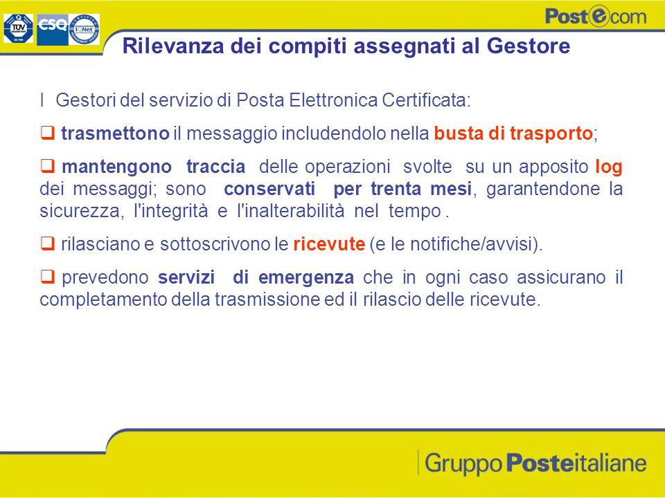 I Gestori del servizio di Posta Elettronica Certificata: trasmettono il messaggio includendolo nella busta di trasporto; mantengono traccia delle oper