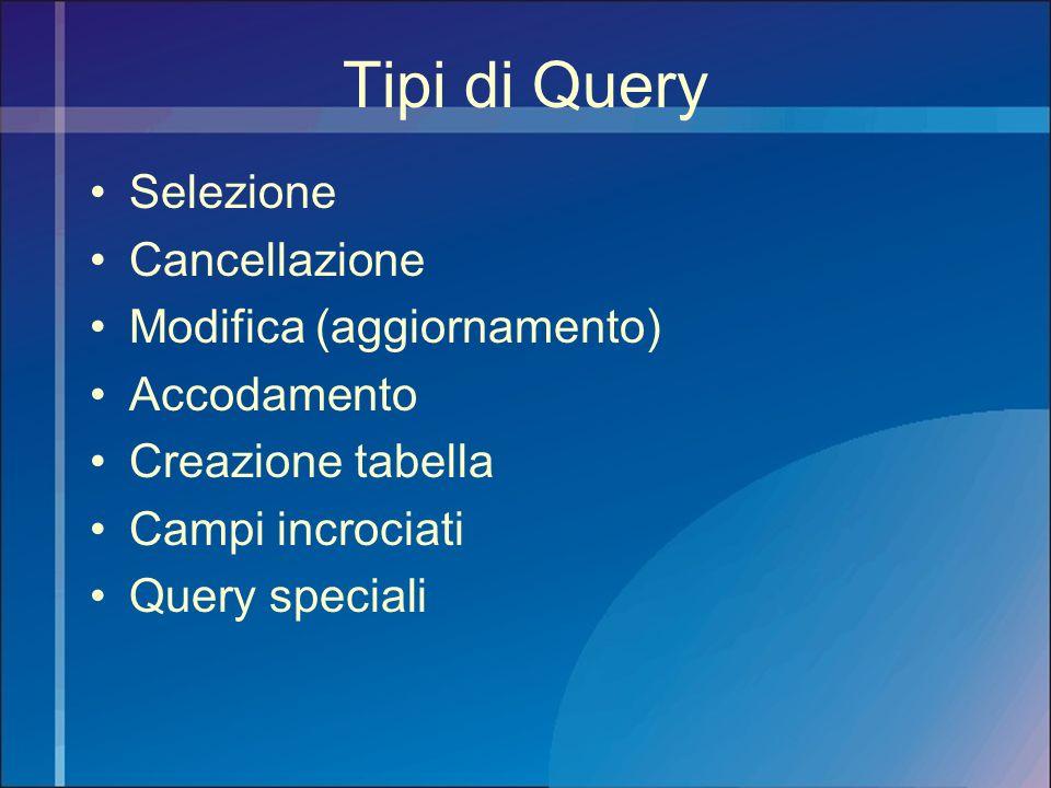 Tipi di Query Selezione Cancellazione Modifica (aggiornamento) Accodamento Creazione tabella Campi incrociati Query speciali
