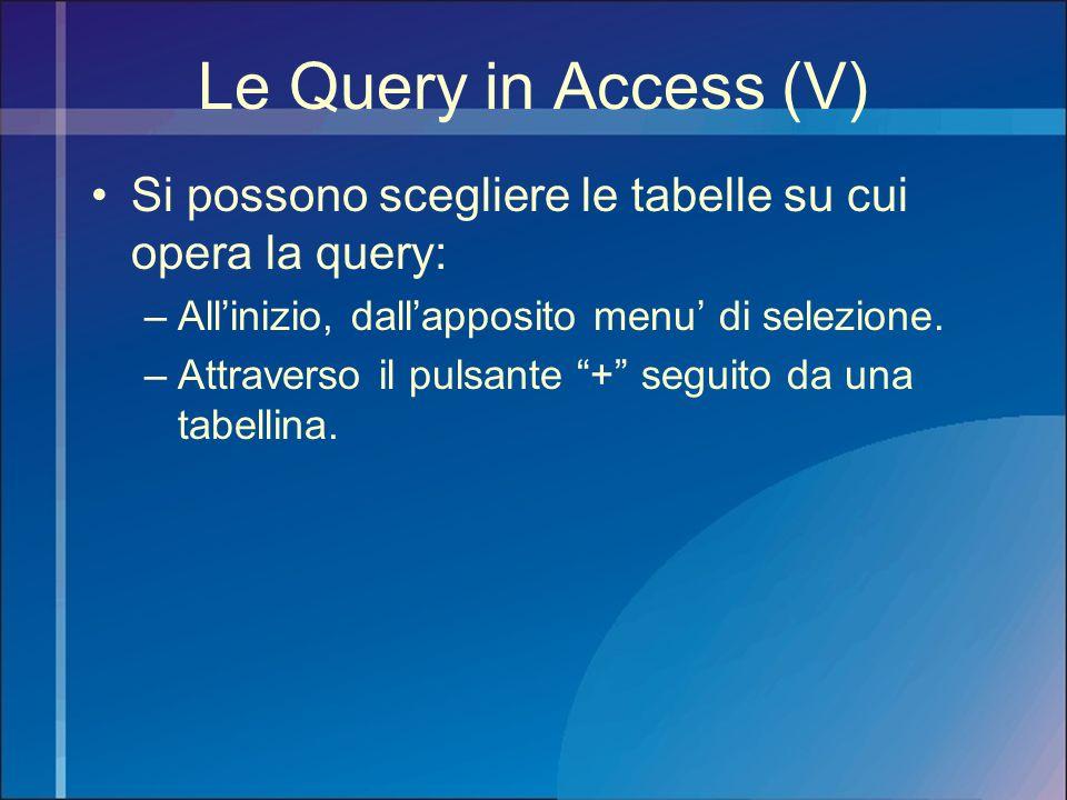 Le Query in Access (V) Si possono scegliere le tabelle su cui opera la query: –Allinizio, dallapposito menu di selezione. –Attraverso il pulsante + se