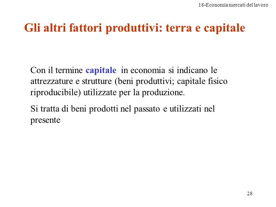 18-Economia mercati del lavoro 28 Gli altri fattori produttivi: terra e capitale Con il termine capitale in economia si indicano le attrezzature e str