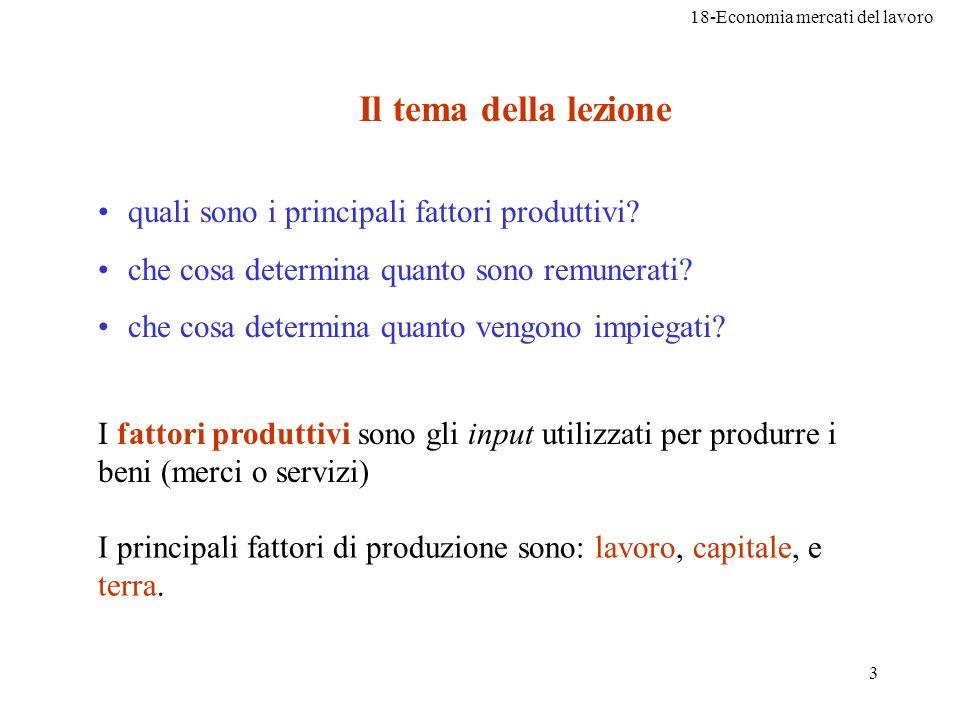 18-Economia mercati del lavoro 3 Il tema della lezione quali sono i principali fattori produttivi? che cosa determina quanto sono remunerati? che cosa