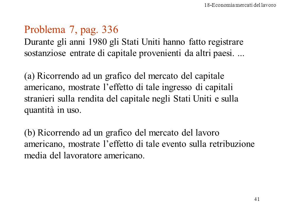 18-Economia mercati del lavoro 41 Problema 7, pag. 336 Durante gli anni 1980 gli Stati Uniti hanno fatto registrare sostanziose entrate di capitale pr