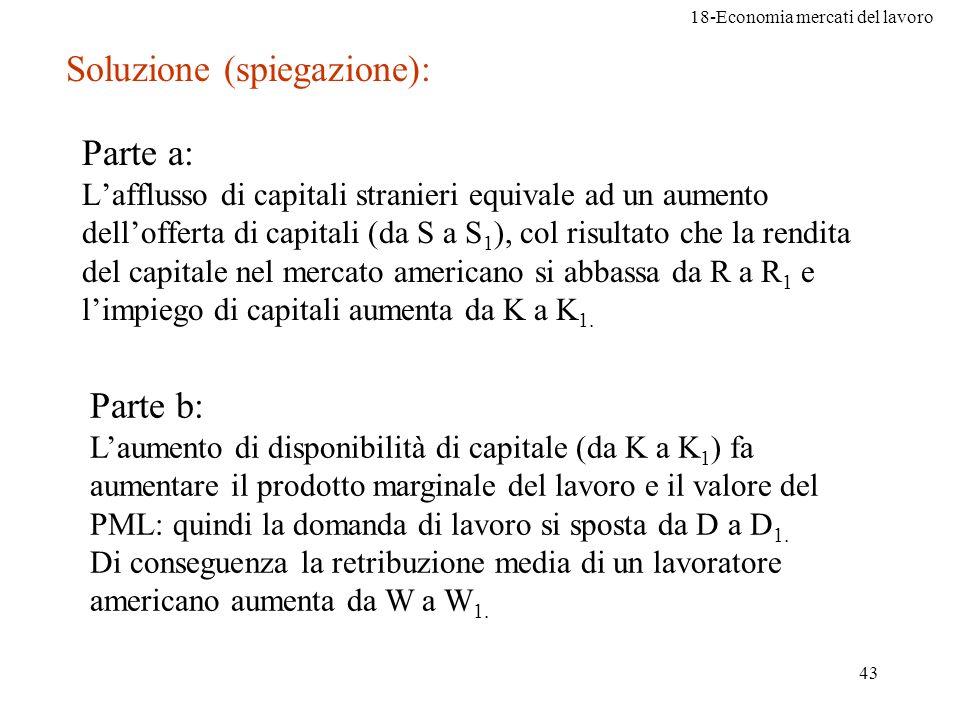 18-Economia mercati del lavoro 43 Parte a: Lafflusso di capitali stranieri equivale ad un aumento dellofferta di capitali (da S a S 1 ), col risultato