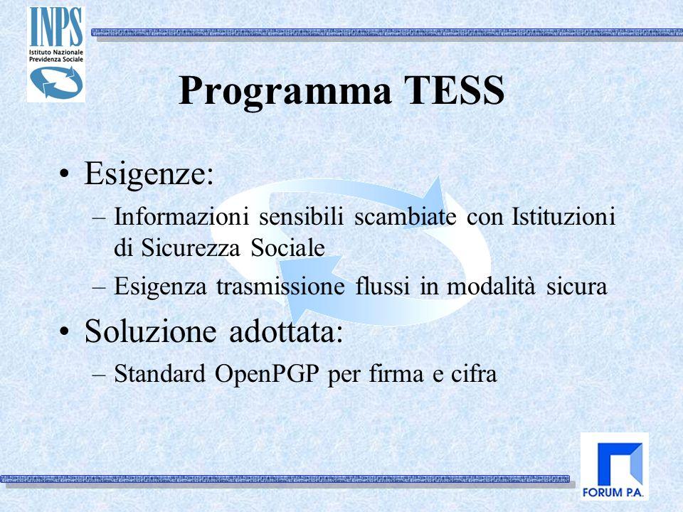 Programma TESS Esigenze: –Informazioni sensibili scambiate con Istituzioni di Sicurezza Sociale –Esigenza trasmissione flussi in modalità sicura Soluzione adottata: –Standard OpenPGP per firma e cifra