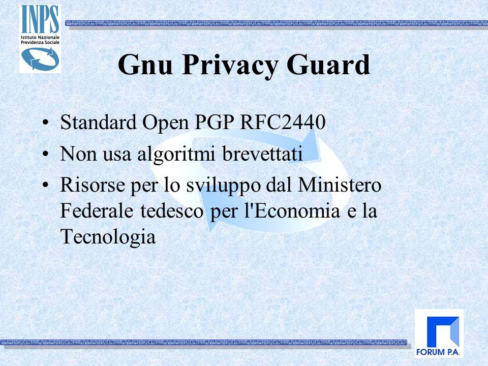 Gnu Privacy Guard Standard Open PGP RFC2440 Non usa algoritmi brevettati Risorse per lo sviluppo dal Ministero Federale tedesco per l Economia e la Tecnologia