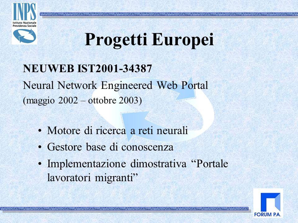 Progetti Europei NEUWEB IST2001-34387 Neural Network Engineered Web Portal (maggio 2002 – ottobre 2003) Motore di ricerca a reti neurali Gestore base di conoscenza Implementazione dimostrativa Portale lavoratori migranti