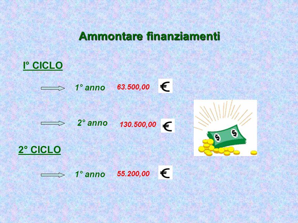 Ammontare finanziamenti I° CICLO 2° CICLO 1° anno 2° anno 63.500,00 130.500,00 1° anno 55.200,00