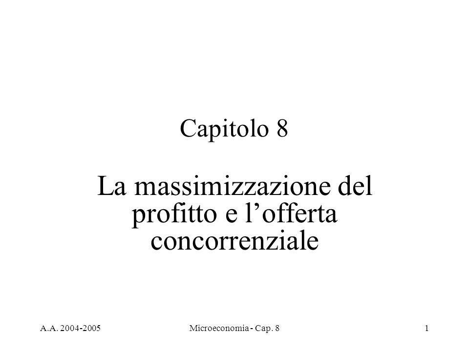 A.A. 2004-2005Microeconomia - Cap. 81 Capitolo 8 La massimizzazione del profitto e lofferta concorrenziale
