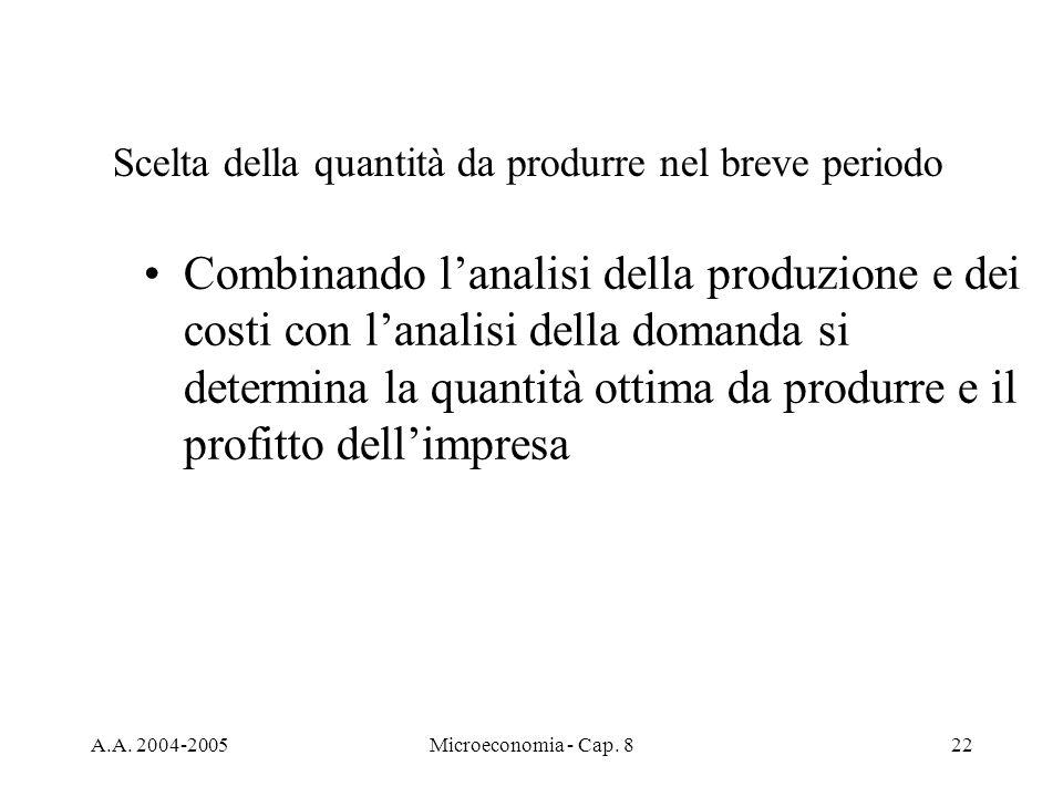 A.A. 2004-2005Microeconomia - Cap. 822 Scelta della quantità da produrre nel breve periodo Combinando lanalisi della produzione e dei costi con lanali