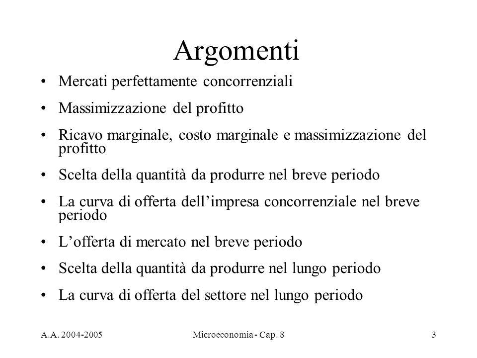 A.A. 2004-2005Microeconomia - Cap. 83 Argomenti Mercati perfettamente concorrenziali Massimizzazione del profitto Ricavo marginale, costo marginale e