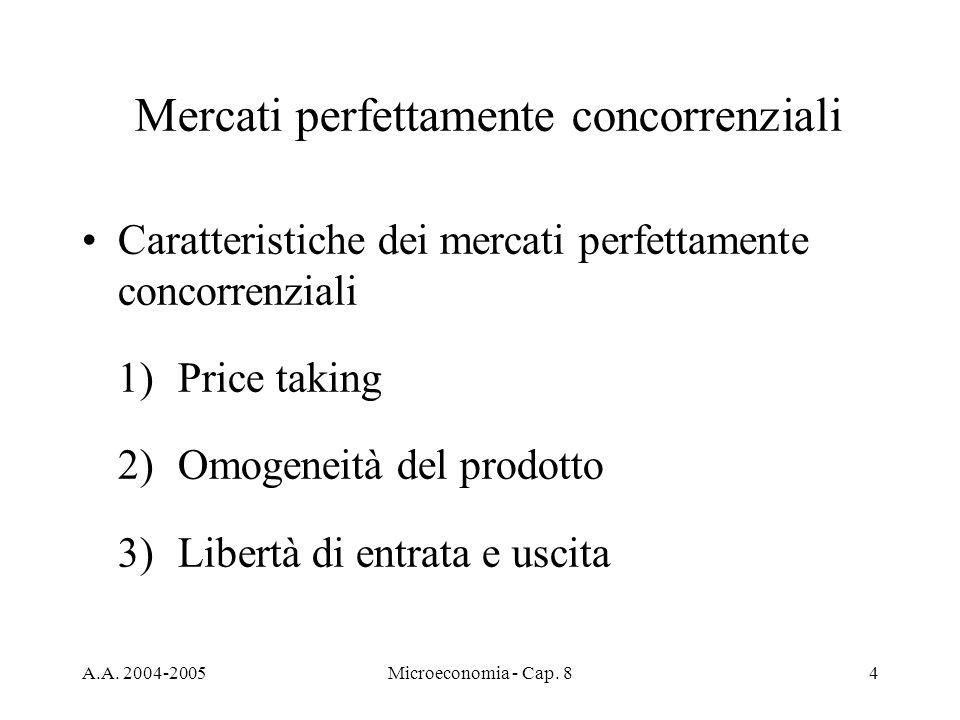 A.A. 2004-2005Microeconomia - Cap. 84 Mercati perfettamente concorrenziali Caratteristiche dei mercati perfettamente concorrenziali 1)Price taking 2)O
