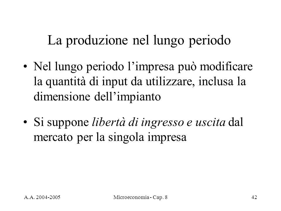 A.A. 2004-2005Microeconomia - Cap. 842 La produzione nel lungo periodo Nel lungo periodo limpresa può modificare la quantità di input da utilizzare, i