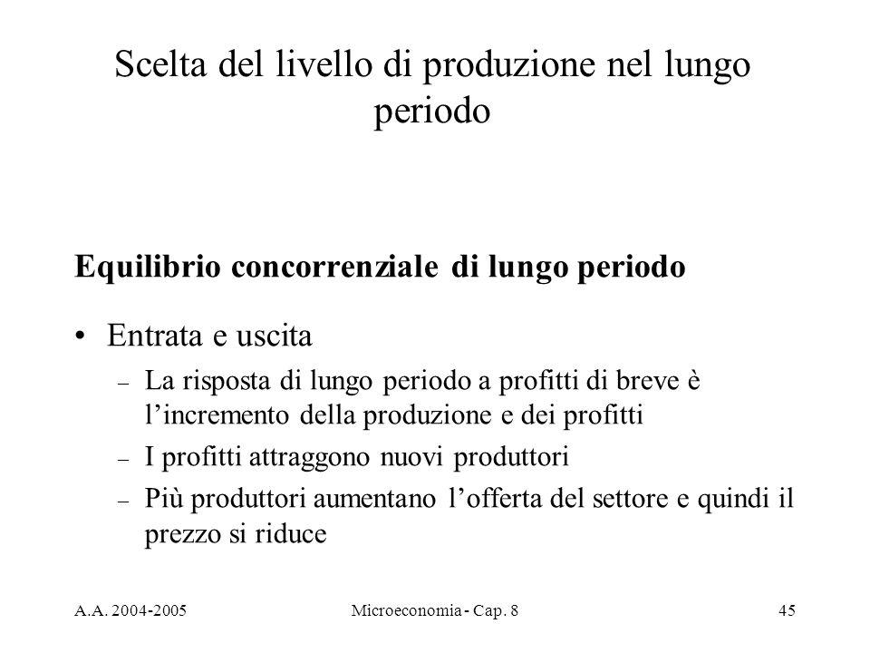 A.A. 2004-2005Microeconomia - Cap. 845 Scelta del livello di produzione nel lungo periodo Equilibrio concorrenziale di lungo periodo Entrata e uscita