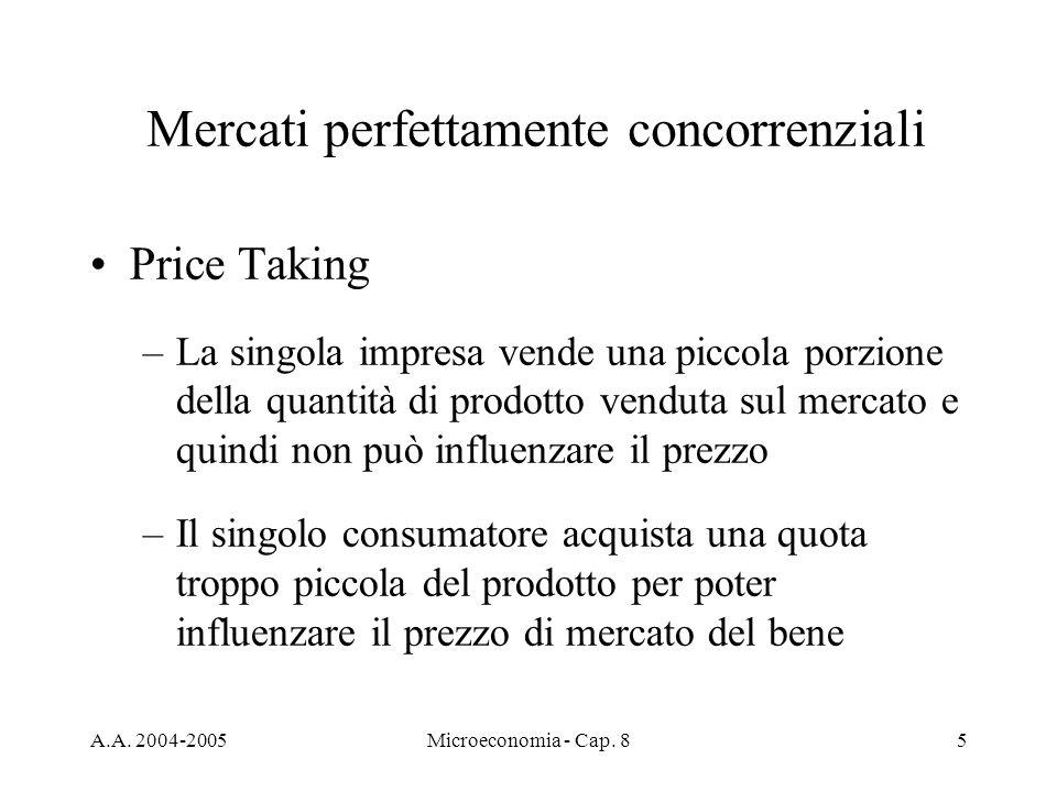 A.A. 2004-2005Microeconomia - Cap. 85 Mercati perfettamente concorrenziali Price Taking –La singola impresa vende una piccola porzione della quantità