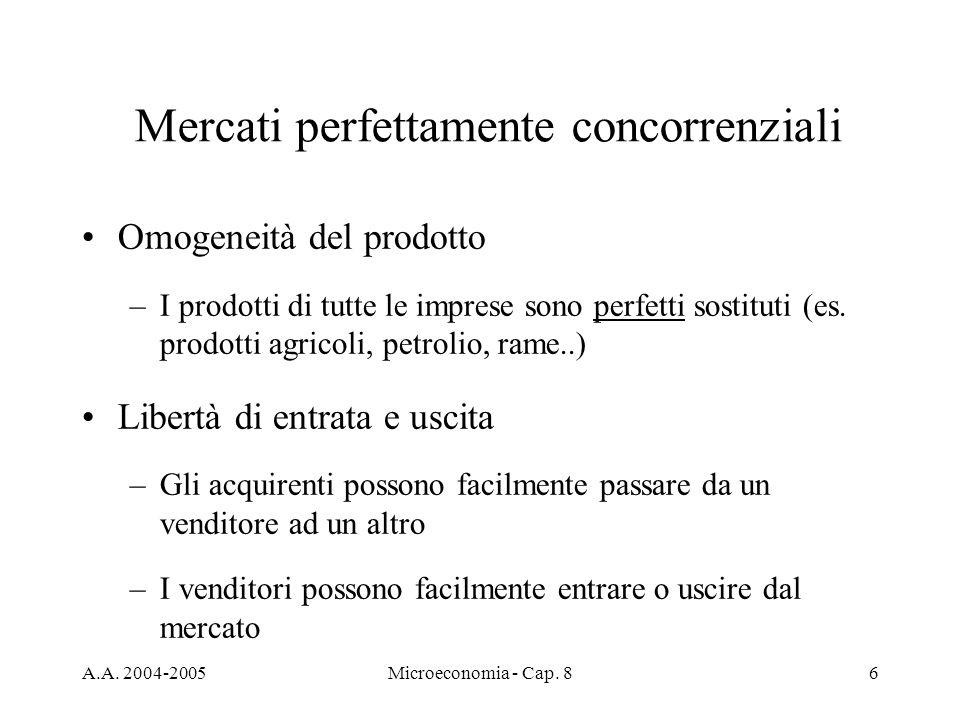 A.A. 2004-2005Microeconomia - Cap. 86 Mercati perfettamente concorrenziali Omogeneità del prodotto –I prodotti di tutte le imprese sono perfetti sosti