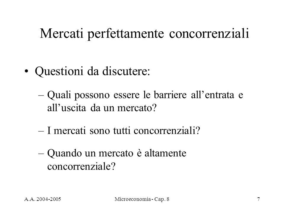 A.A. 2004-2005Microeconomia - Cap. 87 Mercati perfettamente concorrenziali Questioni da discutere: –Quali possono essere le barriere allentrata e allu