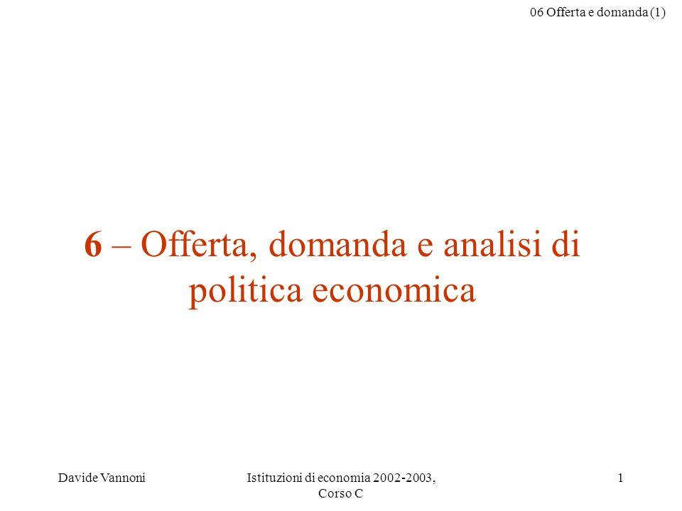 06 Offerta e domanda (1) Davide VannoniIstituzioni di economia 2002-2003, Corso C 1 6 – Offerta, domanda e analisi di politica economica
