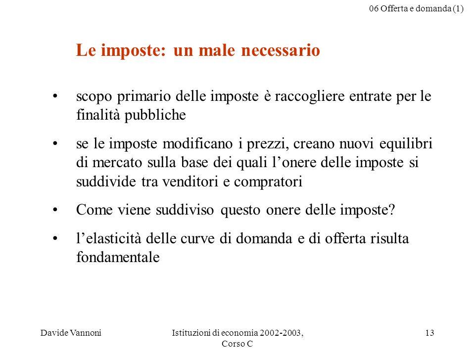 06 Offerta e domanda (1) Davide VannoniIstituzioni di economia 2002-2003, Corso C 13 scopo primario delle imposte è raccogliere entrate per le finalit