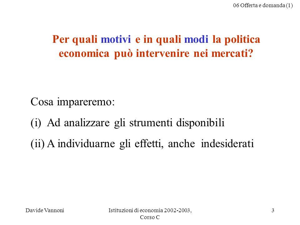 06 Offerta e domanda (1) Davide VannoniIstituzioni di economia 2002-2003, Corso C 3 Per quali motivi e in quali modi la politica economica può intervenire nei mercati.