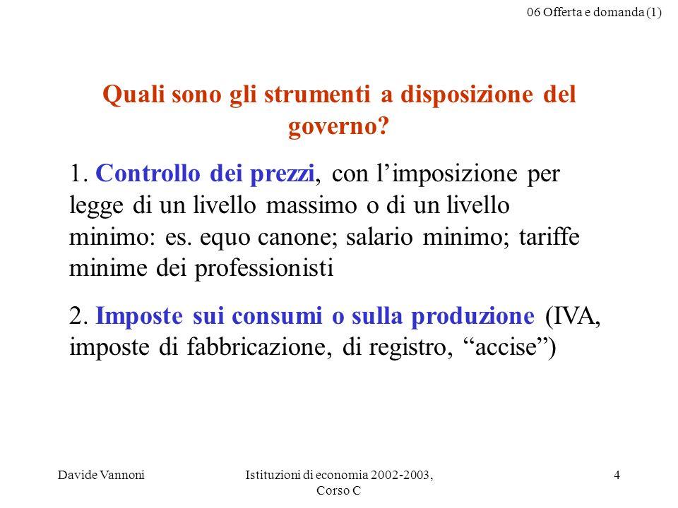 06 Offerta e domanda (1) Davide VannoniIstituzioni di economia 2002-2003, Corso C 4 Quali sono gli strumenti a disposizione del governo.