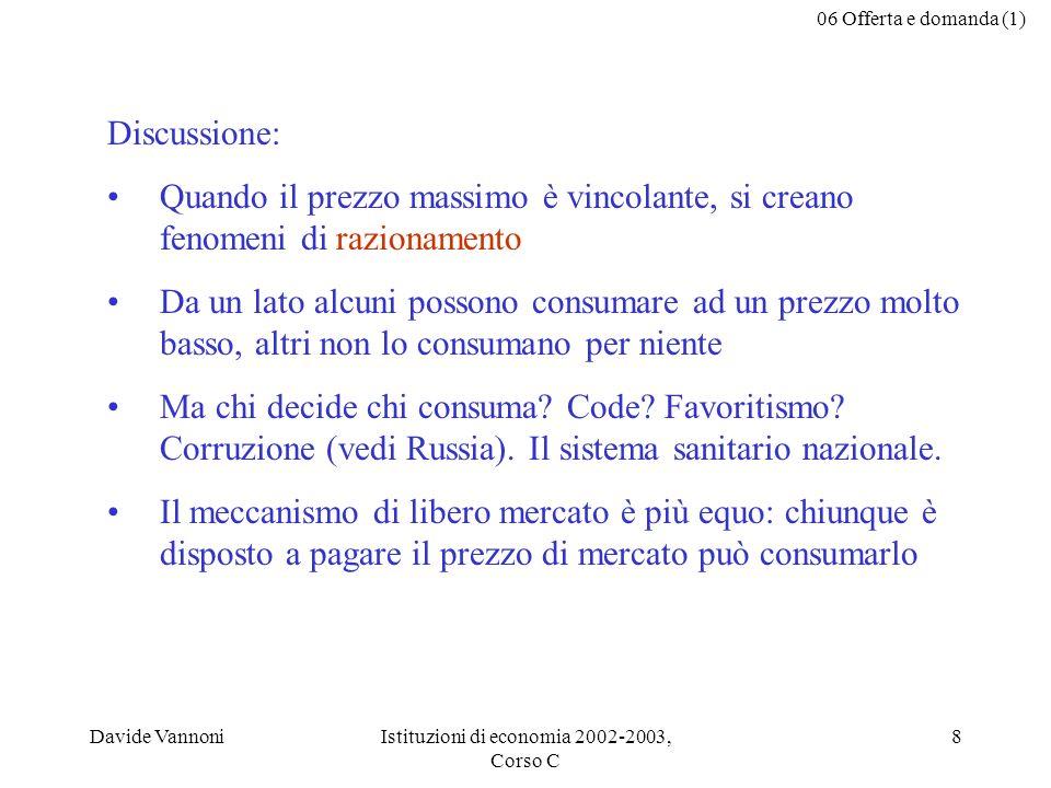 06 Offerta e domanda (1) Davide VannoniIstituzioni di economia 2002-2003, Corso C 8 Discussione: Quando il prezzo massimo è vincolante, si creano feno