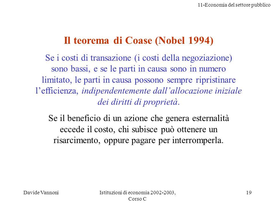 11-Economia del settore pubblico Davide VannoniIstituzioni di economia 2002-2003, Corso C 19 Il teorema di Coase (Nobel 1994) Se i costi di transazion