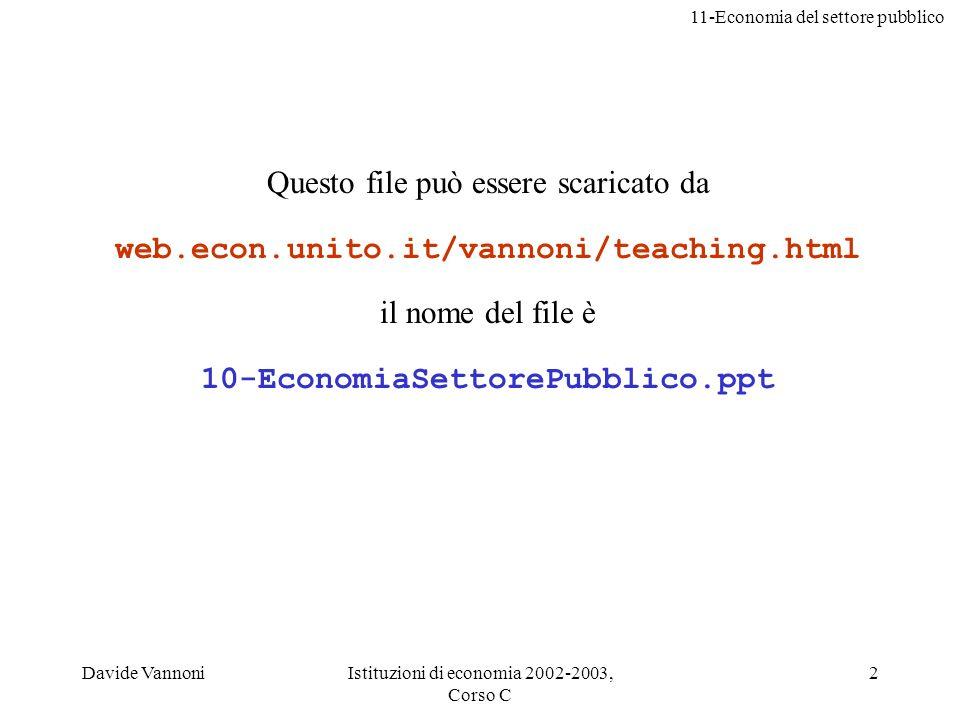 11-Economia del settore pubblico Davide VannoniIstituzioni di economia 2002-2003, Corso C 23 Discussione: Che differenza cè tra limposta pigoviana e i permessi negoziabili.